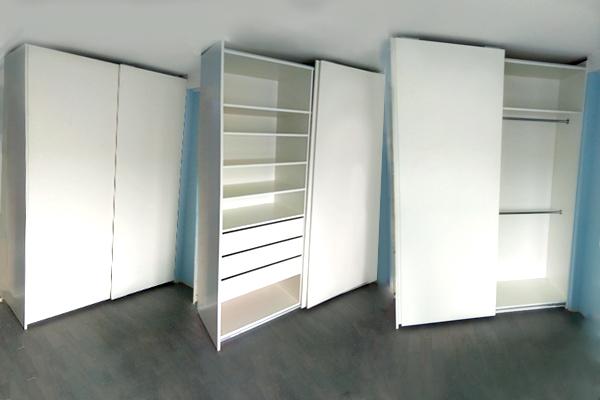 белый шкаф купе незаметная раздвижная система Glatt недорогой шкаф-купе